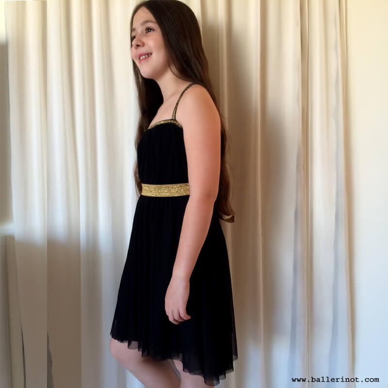 שמלת בת מצווה שחורה ספגטי