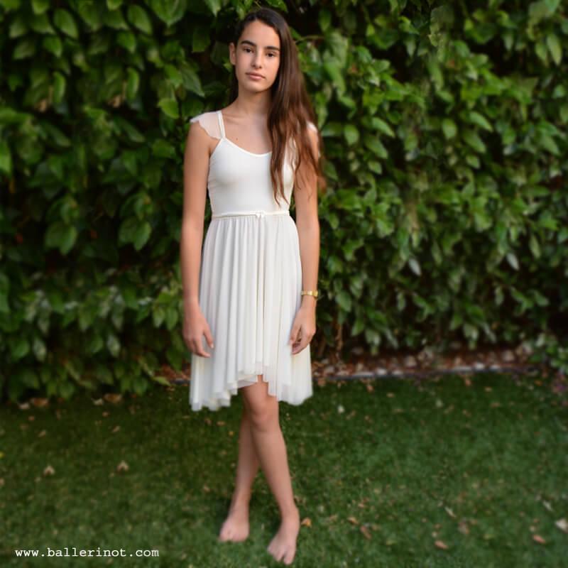 שמלת בת מצווה בלרינה לבנה