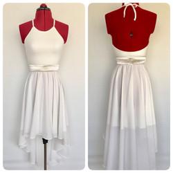 שמלת בת מצווה לבנה ארוכה משיפון בגזר