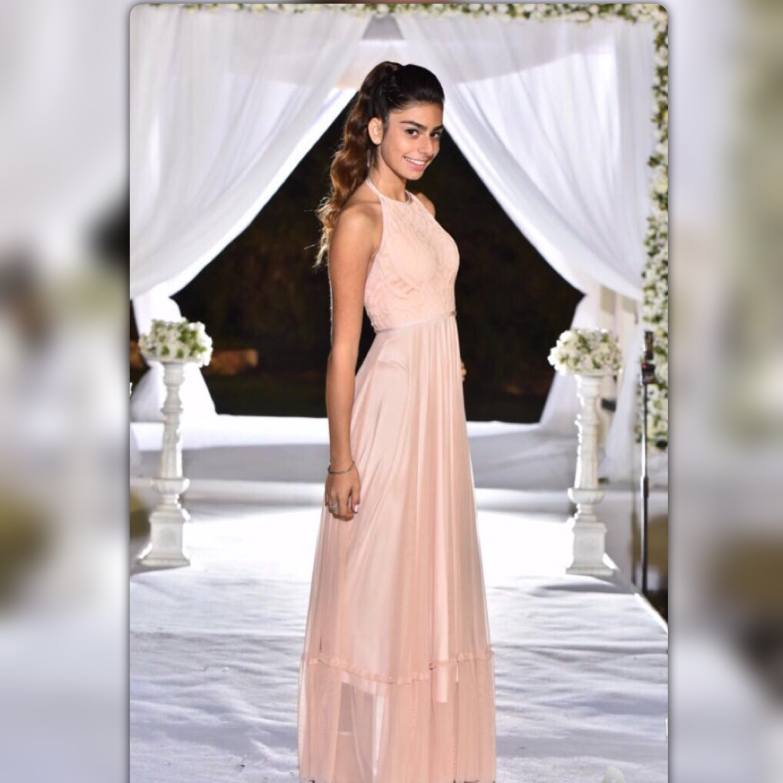 שמלת בת מצווה פודרה ארוכה קולר