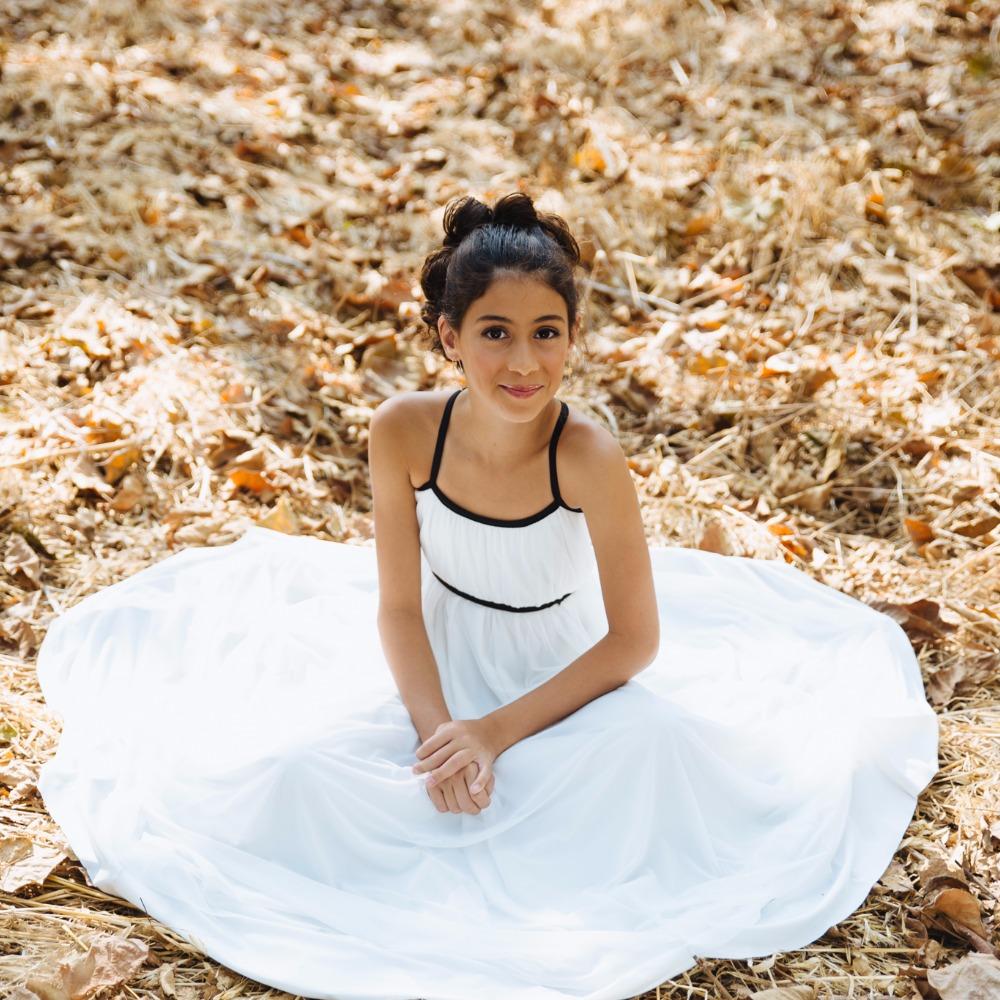 שמלת בת מצווה לבנה ספגטי מקסי