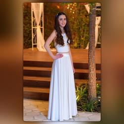 חצאית מקסי לבנה משיפון וטופ
