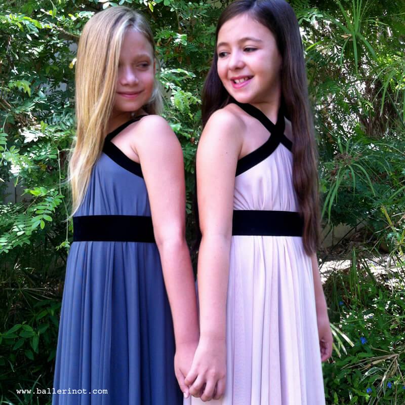 שמלת בת מצווה קולר סגול ופודרה