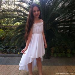 שמלת בת מצווה לבנה פרחים עם שובל