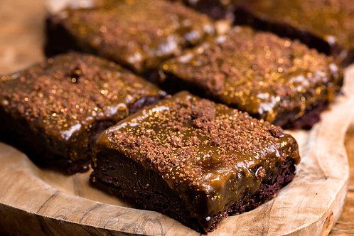 Vegan caramel chocolate brownie