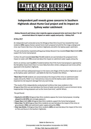 Independent poll reveals grave concerns in Southern Highlands about Hume Coal project and its impact