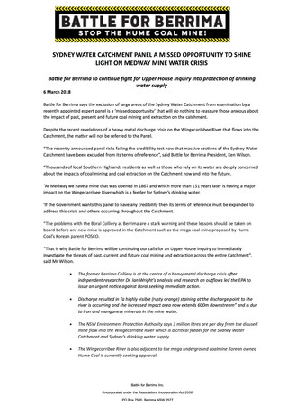 Sydney Water Catchment Panel A Missed Opportunity To Shine Light On Medway Mine Water Crisis