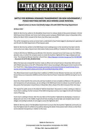 Battle For Berrima Demands Transparency on NSW Government/POSCO Meetings Before 2013 Mining Lease Re