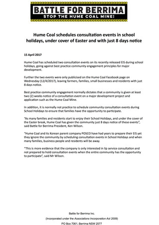 Hume Coal schedules consultation events in school holidays, under cover of Easter and with just 8 da