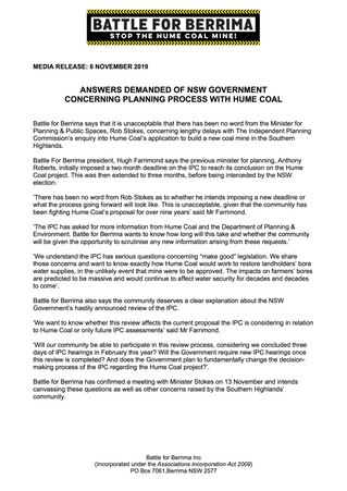 ANSWERS DEMANDED OF NSW GOVERNMENT CONCERNING PLANING PROCESS WITH HUME COAL
