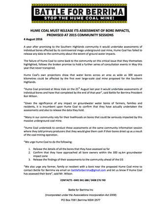 Hume Coal must release its assessment of bore impacts, promised at 2015 community sessions