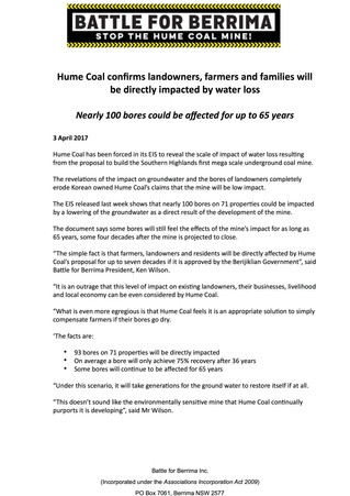 Hume Coal Confirms Landowners, Farmers And Families Will Be Directly Impacted By Water Loss