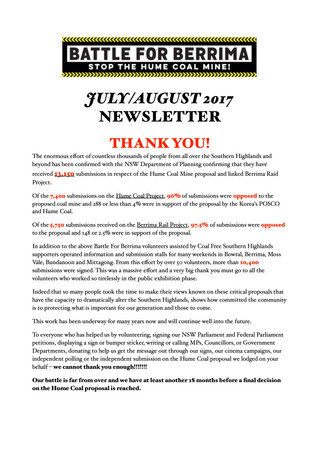 July/August 2017 Newsletter