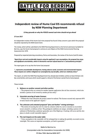 Independent review of Hume Coal EIS recommends refusal by NSW Planning Department