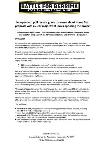 Independent poll reveals grave concerns about Hume Coal proposal with a clear majority of locals opp