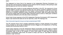 Serious Questions Remain Unanswered In Hume Coal Response To Independent Planning Commission