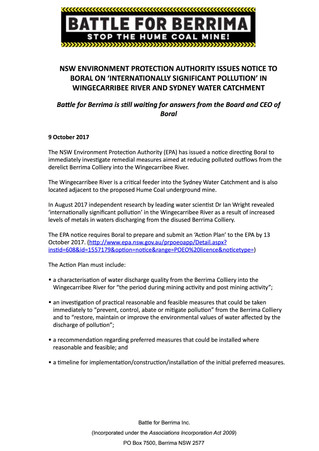 NSW Environment Protection Authority Issues Notice To Boral On 'Internationally Significant Poll