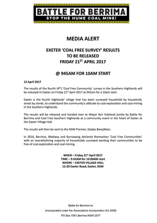 EXETER 'COAL FREE SURVEY' RESULTS TO BE RELEASED FRIDAY 21ST APRIL 2017
