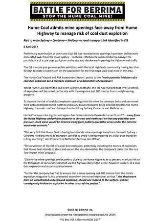 Hume Coal admits mine openings face away from Hume Highway to manage risk of coal dust explosion