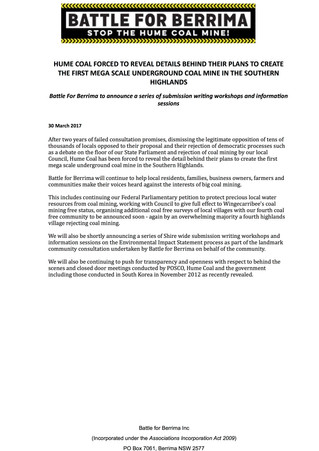 Hume Coal Forced To Reveal Details Behind Their Plans To Create The First Mega Scale Underground Coa
