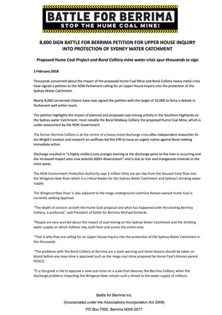8,000 SIGN BATTLE FOR BERRIMA PETITION FOR UPPER HOUSE INQUIRY INTO PROTECTION OF SYDNEY WATER CATCH