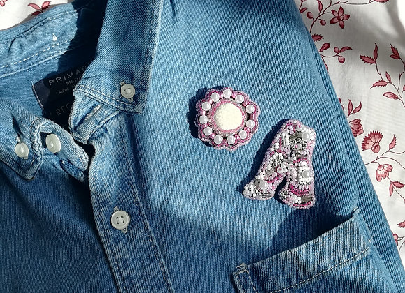 Broche PINK ROSACE