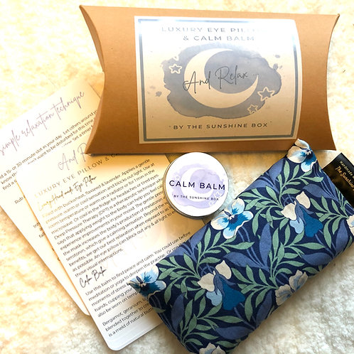 Liberty print eye pillow with calm balm and relaxation guide
