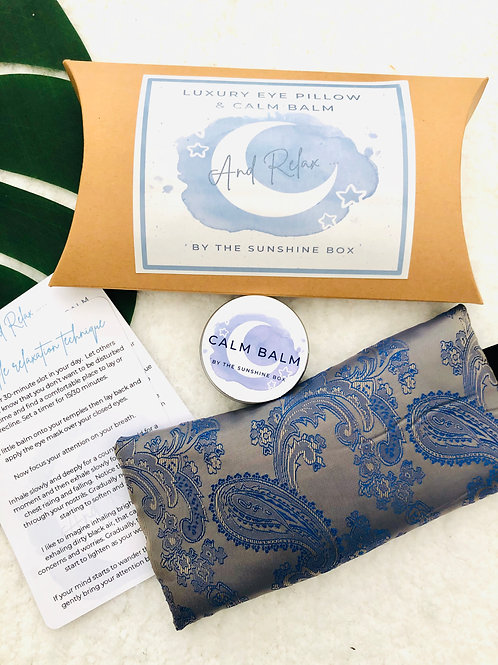 Silky eye mask, calm balm and relaxation guide