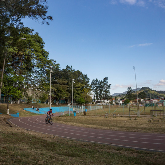 Here's a look at the track at Polideportivo. The track runs around a soccer feild where many locals teams play on weekends, and practice on weekdays.