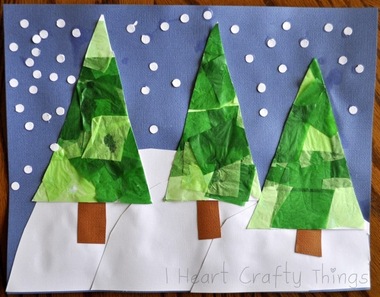 Christmas Tree Winter Art Craft