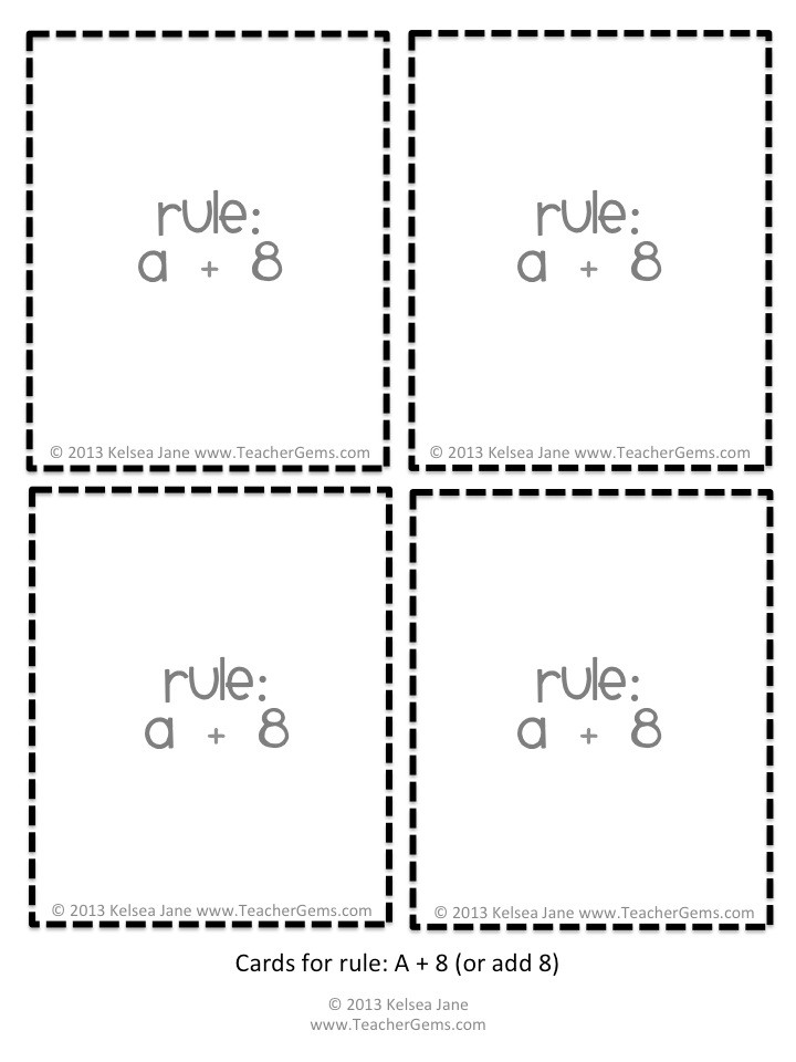 What's my Rule? Math Robot Cards 2