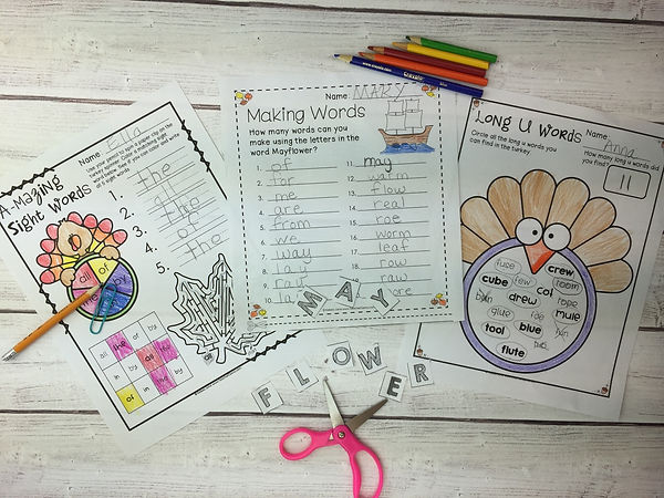 Thanksgiving Writing and Word Work Free