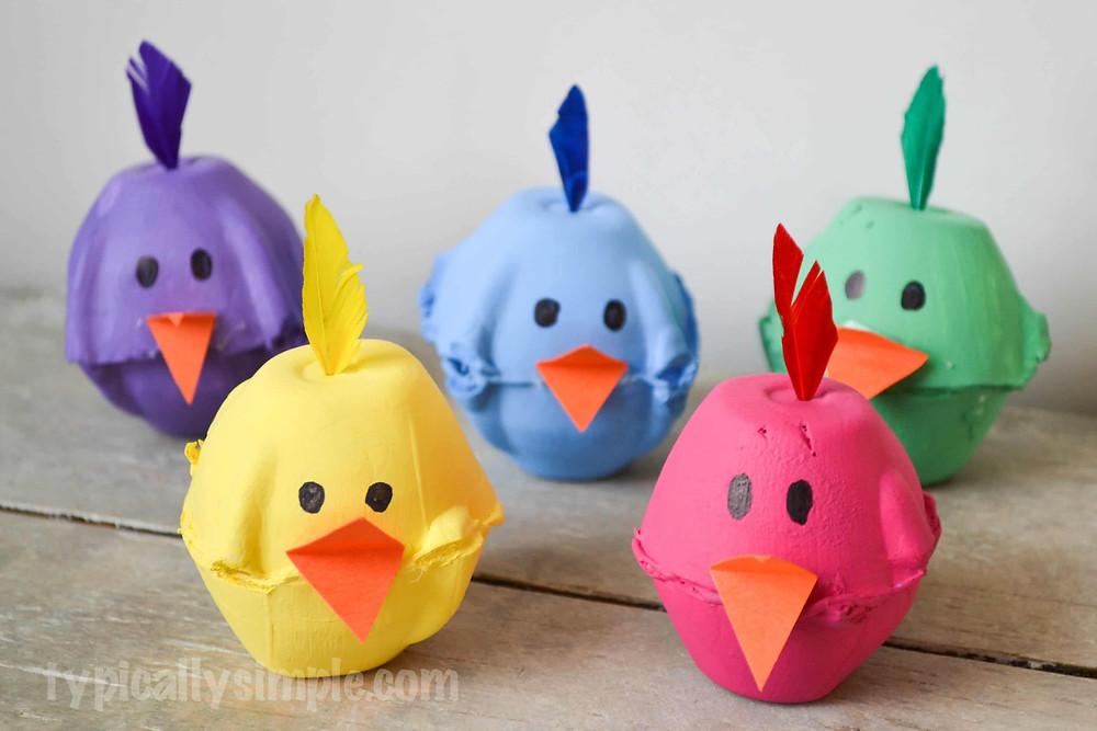 Egg Carton Chicks Craft
