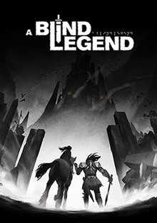 Blind Legend Game Cover: stel je een ridder voor met links van hem een hoofd dat een klein kind draagt, alles is in zwart en wit. We kunnen zien dat de ridder in de richting van een berg kijkt.