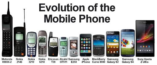 Afbeelding met verschillende telefoons door de jaren heen, startende met de Motorola tot en met de Samsung Galaxy. Het is te zien dat telefoons eerst steeds kleiner worden en daarna steeds groter.