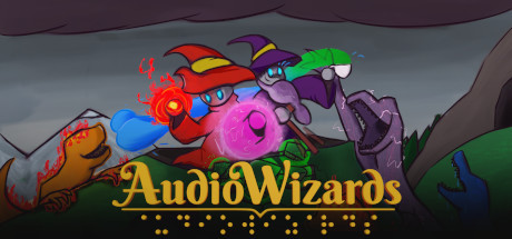 Header from the AudioWizards Game. It shows 2 wizards and some monster with bright colours. The logo says AudioWizards, but also has the braille dots under the logo.