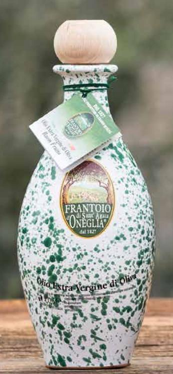 Frantoio Sant'Agata, E/V OLIVE OIL 100% ITALIANO WHITE/GREEN CERAMIC BOTTLE 50cl