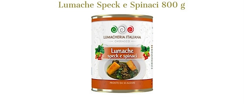 Lumacheria Italiana, snails with speck and spinach 800g - tin