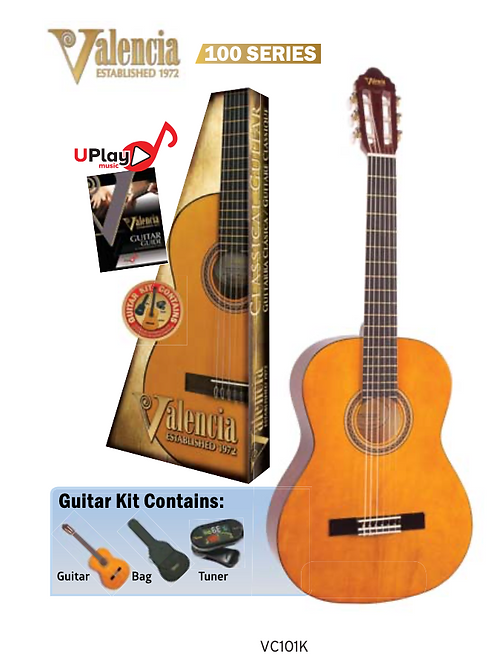 VALENCIA - 100 Series. Classical Guitar Package.