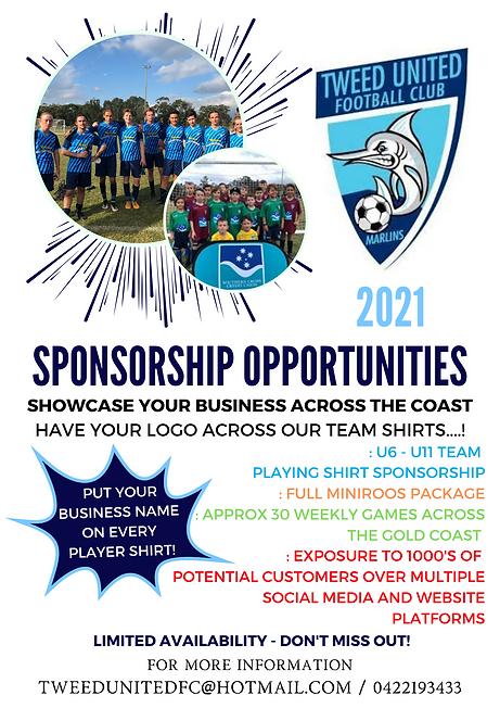 Sponsorship Opportunity U6 - U11 - 2021-