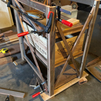 Wine crate shelving unit in progress,