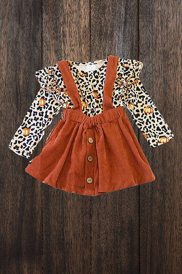 Leopard and Pumpkin Suspender Skirt