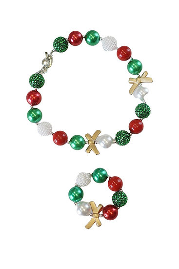 Christmas Bubblegum Necklace and Bracelet Set