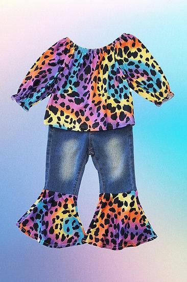 Leopard Bell Bottom Jean Set