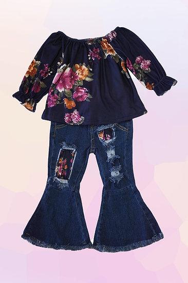 Floral Denim Pant Set
