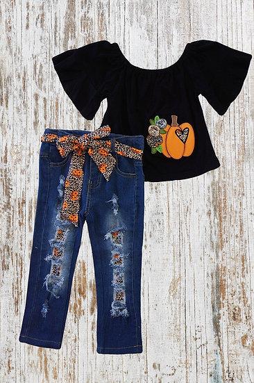 Pumpkin Shirt and Ripped Jeans Set