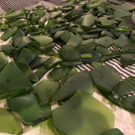 An ocean of sea glass... made from wine bottles.
