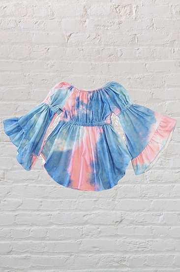 Tie Dye Bell Sleeve Dress
