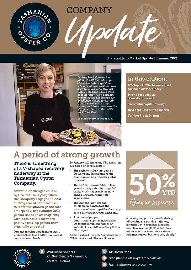 Shareholder & Market Update - Tasmanian