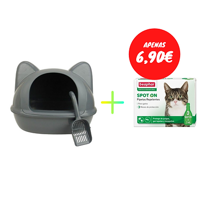 Wc Big Cat Head + pá + Beaphar pipetas replentes - gatos - 3 x 1 ml